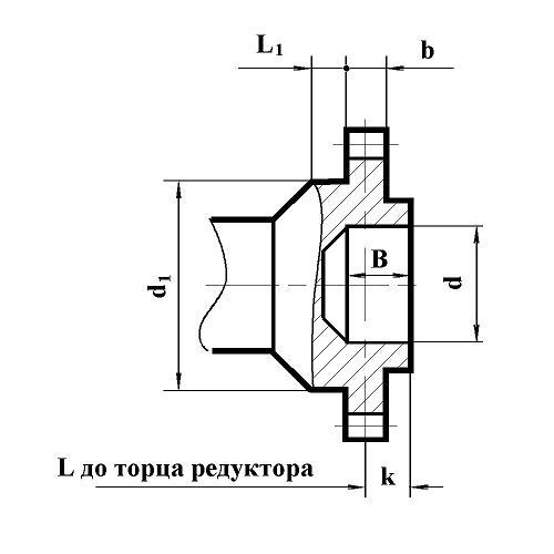 Редуктор РМ-650: размеры выходного вала в виде зубчатой муфты