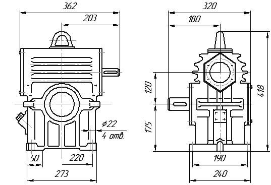 Редуктор РЧН-120: габаритные и присоединительные размеры