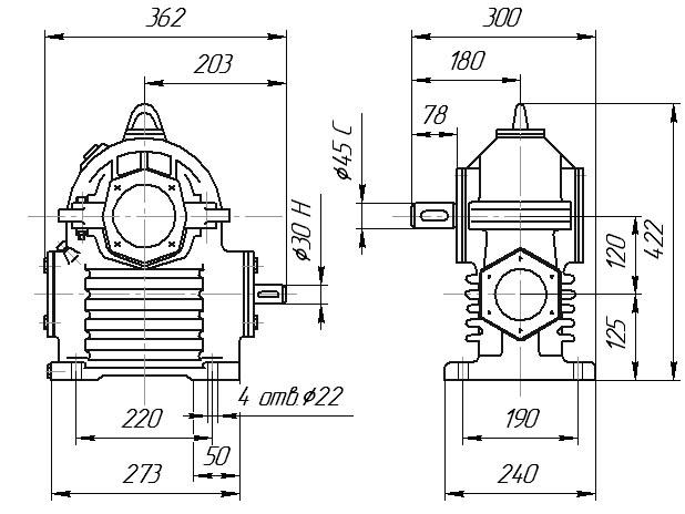Редуктор РЧП-120: габаритные и присоединительные размеры