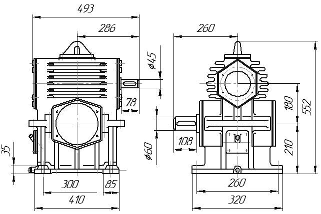 Редуктор РЧН-180: габаритные и присоединительные размеры